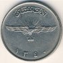 Afghani - 2 Afghanis - Afghanistan - 1961 - Nickel-Plated Steel - KM# 954.1 - 25 mm - Obv: Radiant eagle statue, with wings spread. Rev: Wheat sprig left of denomination. - 0